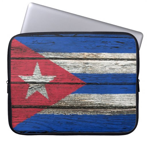 Bandera cubana con efecto de madera áspero del gra mangas computadora