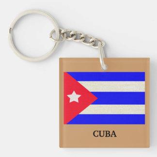 Bandera cubana con el mando del fondo de la moca - llavero cuadrado acrílico a una cara