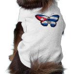 Bandera cubana de la mariposa camisetas de perrito