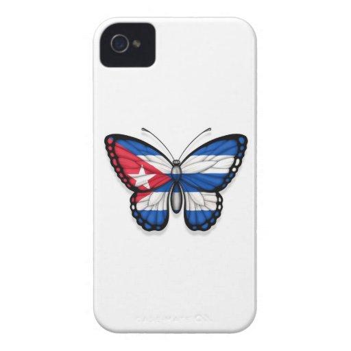 Bandera cubana de la mariposa Case-Mate iPhone 4 carcasas