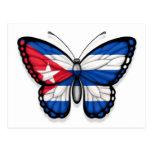 Bandera cubana de la mariposa postales