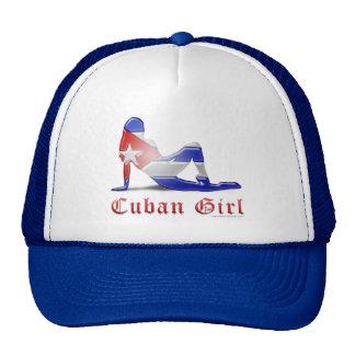 Bandera cubana de la silueta del chica gorros bordados