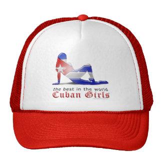 Bandera cubana de la silueta del chica gorra