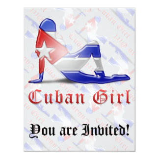 """Bandera cubana de la silueta del chica invitación 4.25"""" x 5.5"""""""