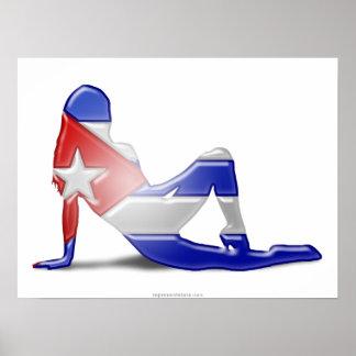 Bandera cubana de la silueta del chica posters