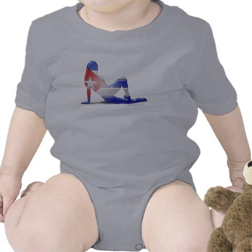 Bandera cubana de la silueta del chica traje de bebé