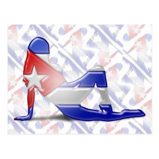 Bandera cubana de la silueta del chica postal
