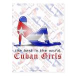 Bandera cubana de la silueta del chica postales