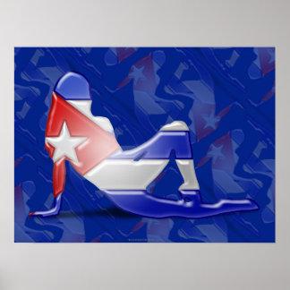 Bandera cubana de la silueta del chica póster