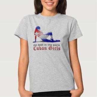 Bandera cubana de la silueta del chica remera