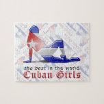 Bandera cubana de la silueta del chica rompecabeza