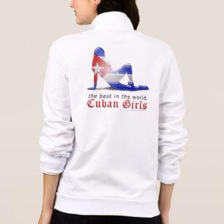 Bandera cubana de la silueta del chica saco deportivo