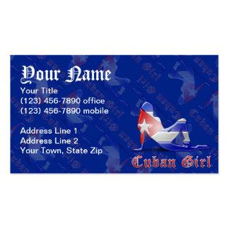 Bandera cubana de la silueta del chica tarjetas de visita