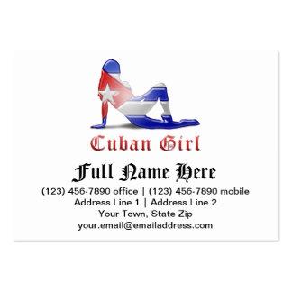 Bandera cubana de la silueta del chica tarjetas de visita grandes