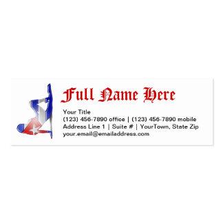Bandera cubana de la silueta del chica tarjetas de visita mini