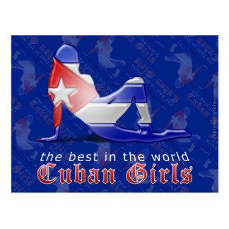 Bandera cubana de la silueta del chica tarjetas postales