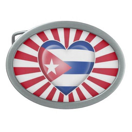 Bandera cubana del corazón con la explosión de la  hebillas cinturon