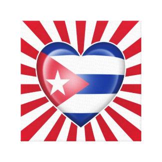 Bandera cubana del corazón con la explosión de la lona envuelta para galerias