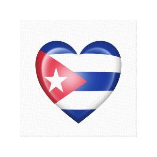 Bandera cubana del corazón en blanco impresion de lienzo
