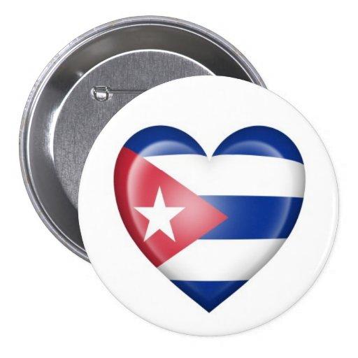 Bandera cubana del corazón en blanco pin redondo 7 cm