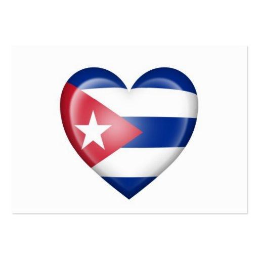 Bandera cubana del corazón en blanco tarjetas de visita grandes