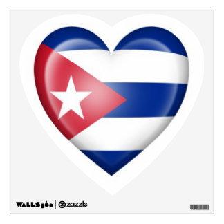 Bandera cubana del corazón en blanco vinilo decorativo