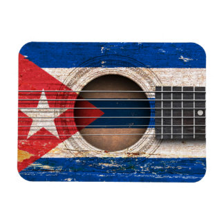 Bandera cubana en la guitarra acústica vieja iman rectangular
