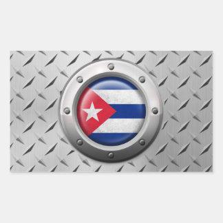 Bandera cubana industrial con el gráfico de acero pegatina rectangular