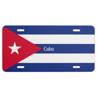 Bandera cubana placa de matrícula