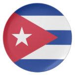 Bandera cubana plato de cena
