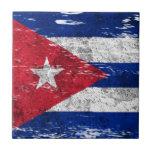 Bandera cubana rascada y llevada azulejos cerámicos