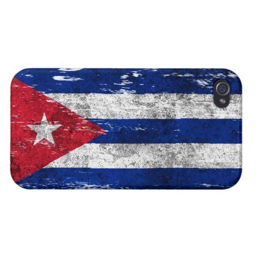 Bandera cubana rascada y llevada iPhone 4/4S carcasas