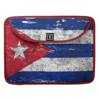 Bandera cubana rascada y llevada funda para macbooks