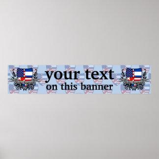Bandera Cubano-Americana de la bandera del escudo Posters