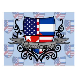 Bandera Cubano-Americana del escudo Postales
