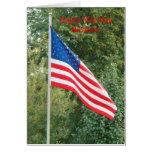 Bandera, cumpleaños feliz del día de la bandera felicitación