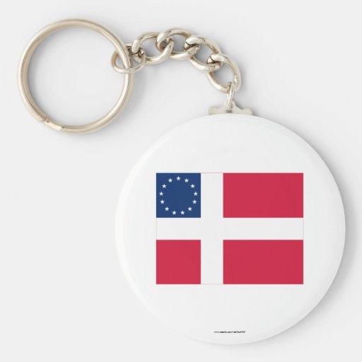 Bandera Danés-Americana Llaveros