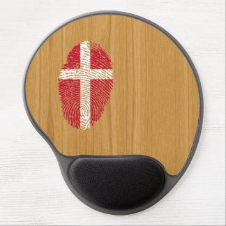Bandera danesa de la huella dactilar del tacto alfombrillas de raton con gel