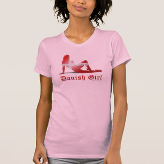 Bandera danesa de la silueta del chica camisas