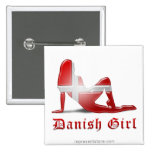 Bandera danesa de la silueta del chica pins