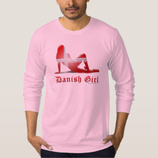 Bandera danesa de la silueta del chica polera