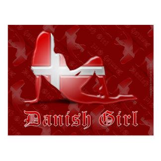 Bandera danesa de la silueta del chica postal