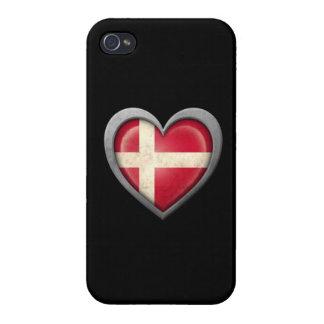 Bandera danesa del corazón con efecto del metal iPhone 4 carcasas