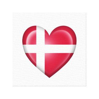 Bandera danesa del corazón en blanco lona estirada galerías