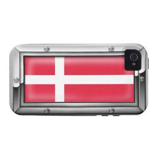 Bandera danesa en un marco de acero vibe iPhone 4 carcasas