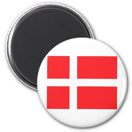 Bandera danesa imán redondo 5 cm