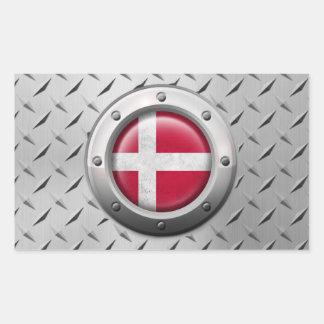 Bandera danesa industrial con el gráfico de acero pegatina rectangular