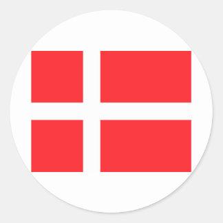 Bandera danesa pegatina redonda