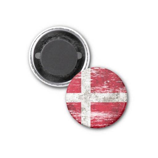 Bandera danesa rascada y llevada imán redondo 3 cm