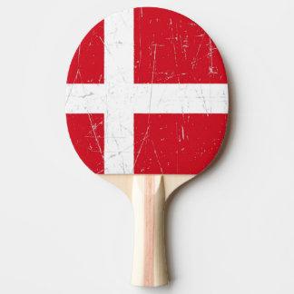 Bandera danesa rascada y rasguñada pala de ping pong